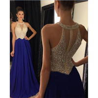 Luxus Royal Blue Chiffon Jewel Neck Prom Kleider Eine Linie Sexy Lange Party Backless Abendkleid Mit Perlen