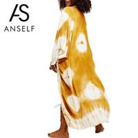 Anself New Summer Femmes en mousseline de soie Long Kimono Cardigan Contrast Print Beach Cover Up Lâche Casual Blouse Top Blanc / Bleu / Jaune