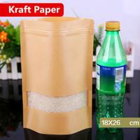 18x26 cm Standı Kraft Kağıt Pencere Buzlu Vitrin Ambalaj Gıda Torbaları Isı Sızdırmazlık Zip Kilit Kullanımlık Pişirme Şeker aperatifler Çay Paketi kılıfı