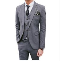 3 шт. наборы пиджаки куртка брюки жилет костюмы / бутик мужская повседневная бизнес платье свадьба жених костюм пальто брюки жилет