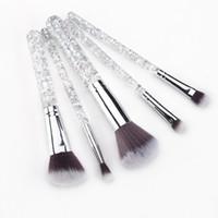 Yeni 5 ADET Şeffaf Reçine Çubuk Makyaj Fırçalar Teknik Profesyonel Pudra Fondöten Güzellik Fırçalar Kozmetik Fırçalar Setleri