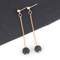 Fashion Lava- rock Round Bead Tassel Dangle & Chandelier Earr...