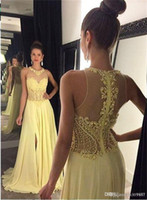 amarillo Long Chiffon sexy Evening Party Dress Formal Celebrity Pageant Prom Ball Gown Cristal lentejuelas Tulle Ocasiones especiales falda