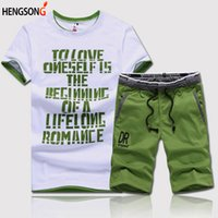 HENGSONG Summer 2Piece Set Fitness Clothes Man Casual O- neck...