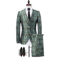 2018 Yeni Bar Nightclub Erkekler Suit Ceket + Yelek + Pantolon 3XL Mavi Kırmızı Gentleman İnce Elegance Giyim Erkek Blazer SOL ROM