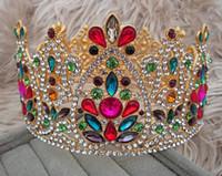 Brautschmuck europäisch farbige Diamanten Wang Hao Große Krone volle Krone High-End-Atmosphäre Luxus-Runde Headwear