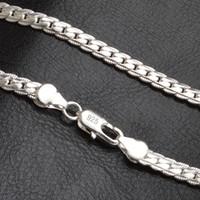 20 дюймов 5 мм модных мужчин 925 серебряное ожерелье цепочка для женщин партия мода серебряный серебристый фигура цепи ожерелье мальчик аксессуары