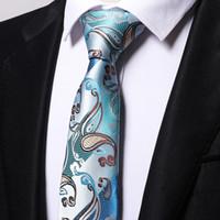Оптовая продажа синий Пейсли галстуки мужчины 2017 свадебный галстук жаккардовый тканый галстук партия бизнес формальный подарок на День Рождения B0009