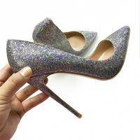 Lantejoulas de cor prata 12cm superfino com saltos pontiagudos, bombas para senhora, sapatos de casamento de 10cm, sapatos de noiva, sapatos grandes, 43 jardas, 44 jardas