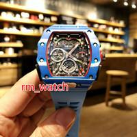 e237d7685b0 Novo estilo de fibra De Carbono azul caso moda esporte luxo 50 03 relógio  automático de