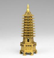 temple chinois bouddhisme temple laiton tour Wenchang tour chedi stupa statue de la pagode décoration de la maison métal artisanat