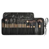 24 Pcs Portátil Ferramenta de Maquiagem Profissional Escovas Pincel de Maquiagem com Saco Conjunto De Madeira Sombra Blush Escova Nariz Fundação Kit