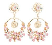 New hot Style A nova marca barroca de vintage fresco rosa flor resina grande anel brincos moda clássico delicado