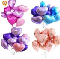 18 pollici 10pcs Baby Shower Party Foil Balloon PinkBlue a forma di cuore elio palla d'aria matrimonio decorazione festa di compleanno palloncini