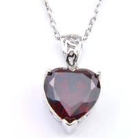 La venta superior 2019 de la joyería de la nueva marca de moda de regalos el día de Navidad corazón rojo granate rosa Kunzite Gems 925 Collares Mujer del Zircon de la plata colgantes