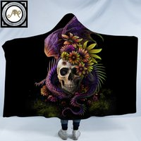 Flowery Skull by SunimaArt Hooded Blanket Flower Dragon 3d P...