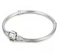 Usine En Gros 925 Sterling Argent Bracelets 3mm Serpent Chaîne Fit Pandora Charme Perle Bracelet Bracelet Bijoux Cadeau Pour Hommes Femmes KKA1875