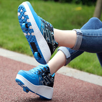 Adult Kids Shoes Roller Shoes Single Wheel Roller Skates Girl Boy Invisible Pulley Roller Skating 2018 Heelys sports Sneakers