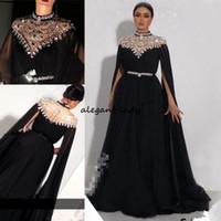 Artı Boyutu Kristaller Kaftan 2018 Balo Elbiseler Caped Uzun Kollu Yousef Aljasmi Yüksek Boyun Siyah Uzun Şifon Arapça Örgün Abiye giyim