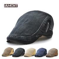 JAMONT 2018 New Coon Retro Style 바이저 남성용 모자 Berets Hat 남성용 모자 바이저 모자 Leer Patch 성인용 베레모 캐주얼 플랫 모자 캐스케이