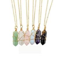 Hecho a mano de Metal Winding Pendant Hexagon Shape Chakra Collar Piedras de Sanación Natural Accesorios de La Joyería Para Las Mujeres de Regalo