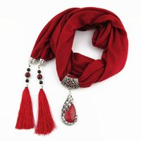 femmes pendentif écharpe collier pendentif en pierre de la nature collier frange gland foulard bijoux avec perles bijoux ethniques