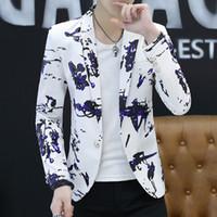 2018 mode herren blume gedruckt blazer casual slim fit prom dress blazer männer schwarz floral bühne tragen blazer jacke für männer