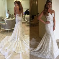 Vintage Beach Bridal Gowns Mermaid 2019 Full Lace Wedding Dr...