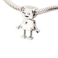 Bella Bot Charm Lovely Girl Robot Beads para mujer DIY joyería que hace encantos de plata Fit original 925 encantos de plata brazaletes brazalete