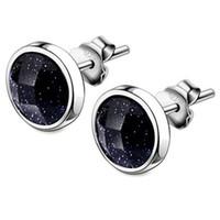 Новая тенденция 1 пара синий черный камень мужские серьги мульти-формы геометрические серьги мужские серебряные серьги ювелирные изделия