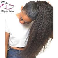 Crépus Droite Brésilienne Cheveux Humains Cordon Clip Ponytail En Extensions de Cheveux Couleur Naturelle Remy Puff Queue De Cheval Produits Evermagic