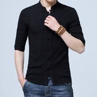 Solido stile cinese Pantaloni estivi in lino Filato ricamato Camicia da uomo Camicia da uomo a manica lunga Camicia da uomo in cotone retrò