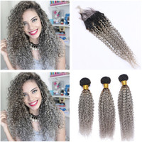 Kinky Curly #1B Grey Ombre Virgin Peruvian Hair Weaves with ...