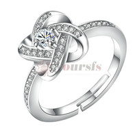 Yoursfs Love Knot Ring Silver Simulated Australia Crystal Square Knot Ring for Women Gift Fashion Jewelry
