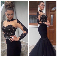 2021 Black Elegant Slim Abendkleider durch Tüll Meerjungfrau Lange Prom Party Kleid Spitze Appliques Lange Ärmel Besondere Anlässe Kleider