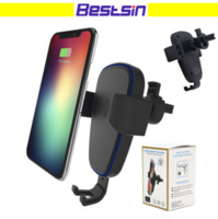 T3 Qi Fast Wireless Charger 10W Gravity Car Mount Phone Hold...
