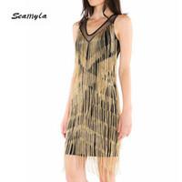 Seamyla Frauen Bandage Kleid Sexy Bodycon Gold Tessals Sommer Clubwear Mini Vestidos Neue Fringe Promi Party Kleider Großhandel