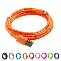 3m trenzada / 10 pies de nylon redonda cargador USB Micro cable de carga para teléfonos móviles de Samsung andriod