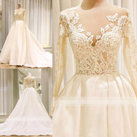 2018 Generous Lace Applique A- Line Wedding Dresses Jewel Lon...
