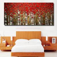 Pintado de árboles de cuchillo abstracto pintado a mano pintura al óleo del paisaje en lienzo Modern Wall Art Fotos Pinturas de paleta hecha a mano