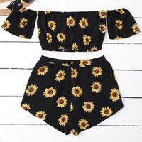 Casual 2 Two Piece Set Women Sunflower Print Summer Off the ...