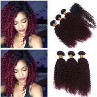 Dark Rooted Burgundy Ombre 4x4 Lace Closure with Weave Bundl...