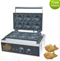 YENI Ticari Kullanım Yapışmaz 110 v 220 v Elektrikli 6 adet Mini Balık Waffle Taiyaki Baker Makinesi Maker Plaka