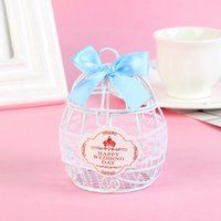 2019 New Wedding Favore Box Matel bianco Scatole in ferro Birdcage con nastri Bowknot SPECIAL Candy Boxes