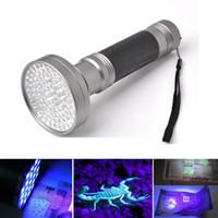 블랙 실버 395 - 400nm 100LED 자외선 손전등 Blacklight 전갈 슈퍼 밝은 감지 손전등 토치 휴대용 바이올렛 라이트 돈 감지기