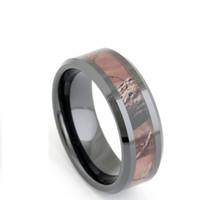Fashion Jewelry Rings 8mm Black Ceramic Ring Mens Camo Inlay Camouflage  Hunting Trees Engagement Wedding Band Beveled Polished