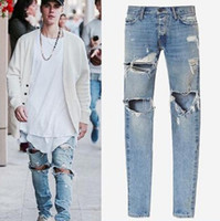 Mens Distressed Blue Denim Jeans Fashion Street Slim Long Tr...
