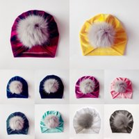 Baby Warm Hats Hair Ball Gold Velour India Caps 10 Color Sil...