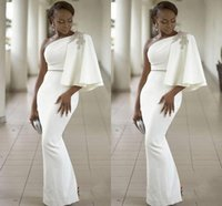 2019 New Cheap African Prom Dresses One Shoulder Crystal Bea...