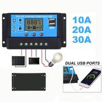 ソーラーパネルレギュレータ充電コントローラUSB LCDディスプレイオート10A / 20A / 30A 12V-24Vインテリジェント自動コネクタ